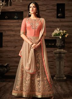 Peach Net Floral Embroidered Anarkali