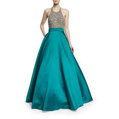 Jovani Sleeveless Sequined Combo Ball Gown ($735) ❤ liked on Polyvore featuring dresses, gowns, blue sleeveless dress, jovani evening dresses, halter gown, blue sequin gown and blue evening gown