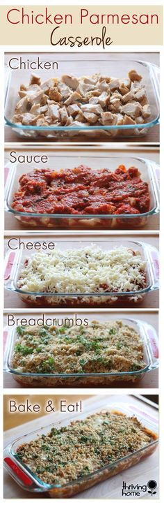 Chicken Parmesan Casserole. Anyone can make this recipe and it's sure to please the whole family! Freezer meal instructions included, as well.