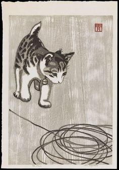 Kitten and Knitting Wool - 毛糸猫(タテ)- woodblock 1950's-1960's - Aoyama Masaharu (1893-1969, Japan)