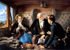 First Class - The Meeting, c. 1850, Abraham Solomon  (1824 - 1862).This is one of a pair of paintings (the other: Second Class - The Parting) showing the contrasting families and destinies of two young seafaring men from different backgrounds. The setting is novel as the railway was a relatively new form of transport in the 1850s. An earlier version CAUSED A SCANDAL as it showed the elderly chaperone asleep and the young naval officer engaged in lively conversion with the girl.
