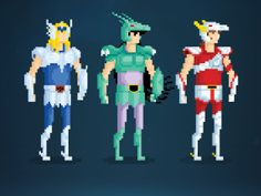 Your Greatest Childhood Heroes, Rendered in Delightful 8-Bit Pixels | Saint Seiya  by Anthony Barros  | WIRED.com