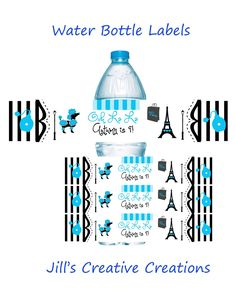 Paris Theme Birthday Water Bottle Labels