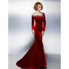 TS+Couture®+Formal+Evening+/+Black+Tie+Gala+Dress+Plus+Size+/+Petite+Trumpet+/+Mermaid+Jewel+Court+Train+Velvet+with+Beading+/+Crystal+Detailing+–+USD+$+129.99