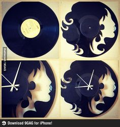 "A clock made out of vinyl record. Could work for other ""cut-out"" decor."