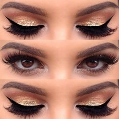 Golden eye makeup looks so luscious for all girls and ladies. So they would like to wear the golden eye makeup to compliment their gorgeous evening dresses. Golden shadows have a wide variety of shades for you to create different styles and looks. Pretty Makeup, Love Makeup, Makeup Inspo, Makeup Inspiration, Glam Makeup, Makeup For Gold Dress, Bridal Makeup, Wedding Makeup, Neutral Makeup