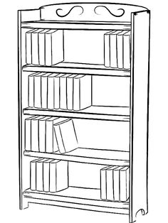 Coloring Pages For Kids, Coloring Books, Library Drawing, Bookshelves, Bookcase, Simple Bookshelf, Book Clip Art, White Books, Online Coloring