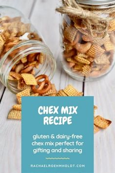 This gluten-free dairy-free Chex Mix is perfect for snacking, entertaining, and giving as gifts. Enjoy this simple recipe in full or half batches. Dairy Free Snacks, Dairy Free Breakfasts, Dairy Free Diet, Dairy Free Recipes, Gluten Free, Chex Mix Recipes, Snack Recipes, Paleo Recipes, Dairy Free Thanksgiving Recipes