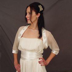 Half Sleeves Chiffon Bridal Jacket with Ivory Satin Trimmed Elastic Satin Edge, Quality Unique Wraps & Fur - Dressale.com
