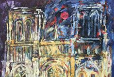 Adéle du Plessis painted the front of Notre Dame, the Cathedral in Paris by night. All of the night lights of this bustling city is reflected onto the front of the cathedral. The dark blue of the night and the flecks of yellow, red and white show how light dances of this beautiful piece of architecture. Adele, Monet Paintings, Claude Monet, Night Lights, Pilgrimage, Impressionist, Art History, Notre Dame, The Darkest