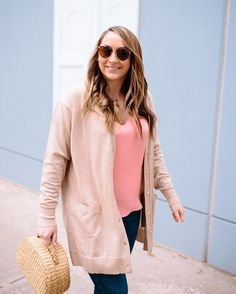 all the spring feels today over on theheartofthehouse.com today wearing this coral silk cami and oversized cardigan that are both currently on sale  http://liketk.it/2qH3i #liketkit @liketoknow.it #ltksalealert #ltkunder50 #springfever