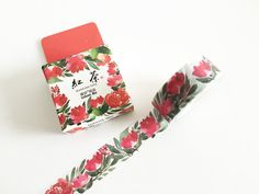 Red Floral Washi Tape (1 pc) Korean Stationery Masking Tape Deco Tape T0089 by TinyBees on Etsy