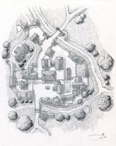 Village of Bourmout [uncolored] by SirInkman on DeviantArt