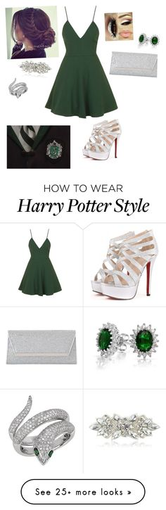 """""""Slytherin"""" by the-ravenclaw-princes on Polyvore featuring Topshop, Jimmy Choo, Bling Jewelry, Effy Jewelry and Deepa Gurnani"""