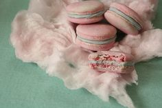 These macarons make the girly-girl in me ever so happy! Not only are they candy floss flavored (candy floss is what us Brit's call cotton candy) but the shells are marbled pastel pink and blue! And of