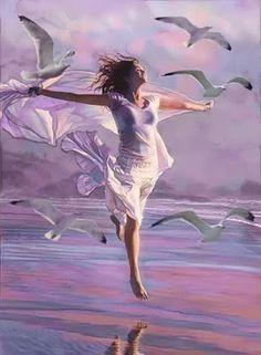 Dream it , believe it, achieve it. good things take time. Fantasy Kunst, Fantasy Art, Dance Paintings, Art Abstrait, Beach Art, Love Art, Art Pictures, Female Art, Art Girl