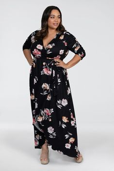 Our plus size Meadow Dream Maxi Dress makes a great wedding guest dress. Maxi Dress Wedding, Maxi Wrap Dress, Plus Size Long Dresses, Plus Size Outfits, Fashion To Figure, Dress Making, Plus Size Fashion, Dresses With Sleeves, Espadrilles