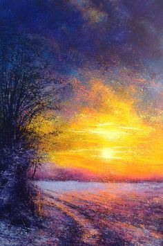 Sunset in Winter, 2015 Acrylic painting by Marc Todd #http://uk.pinterest.com/paintedorguk/