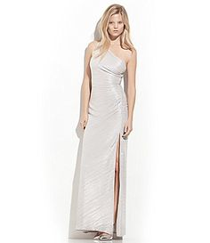 Laundry by Shelli Segal Side Beaded OneShoulder Gown #Dillards