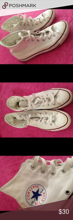 Women's Gently Used White High Top converse Worn very few times, in great condition, Size 7. Feel free to make an offer ! Converse Shoes Sneakers