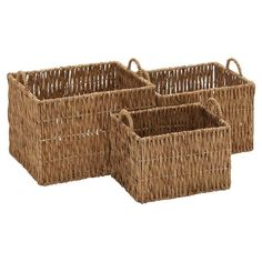 DecMode Rectangle Sea Grass Basket with Sea grass Handles- Set of 3 - 48980