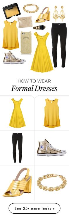 """Back and gold casual or formal"" by rosey26 on Polyvore featuring NARS Cosmetics, Calvin Klein, Kate Spade, Rebecca Minkoff, Converse, Jose & Maria Barrera, John Hardy, Banana Republic and Philipp Plein"