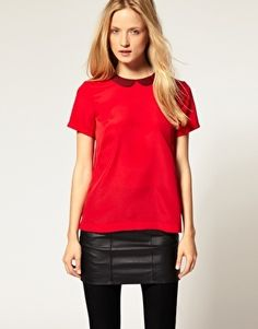 French Connection Contrast Peter Pan Collar Top - StyleSays