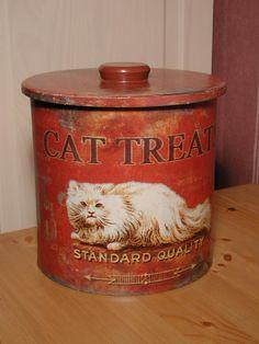 Vintage tin box cat treats