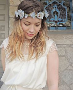 Pale Blue Floral Crown / Flower Crown / Wedding Crown / Wedding Hair Accessory / Vintage Wedding / Floral Hair Accessory / Boho Chic / Halo