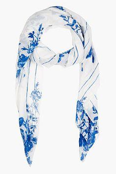 MCQ ALEXANDER MCQUEEN White & Blue Floral Scarf $225.00 thestylecure.com
