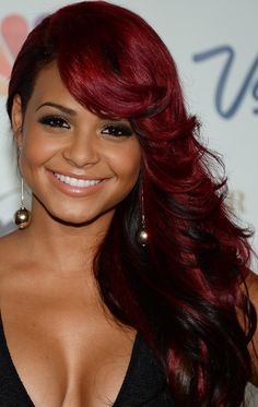Christina Milian's Ruby Red Side Sweep. . . I may be too dark-skinned for this