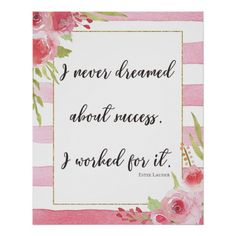 Inspiratio Wall Decor -Never Dreamed About Success - flower print gifts floral idea giftideas Watercolor Wedding, Floral Watercolor, Wall Decor, Wall Art, Flower Prints, Wedding Stationery, Gift Guide, Handmade Gifts, Place Card Holders
