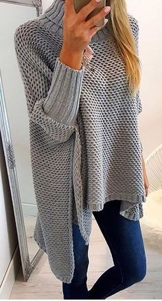 25 Casual Fall Outfits That Make You Look Cool - Fashion New Trends Fashion - Diy Crafts Poncho Outfit, Cardigan Outfits, Crochet Top Outfit, Crochet Cardigan, Casual Fall Outfits, Winter Outfits, Winter Pullover Outfits, Pulls, Clothes