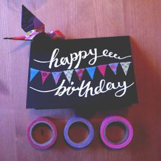Beautiful handwritten Birthday Card with washi tape bunting