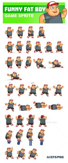 Funny Fat Boy Game Sprite is designed for 2D side scrolling action or running game. The animations include running, jumping, falli