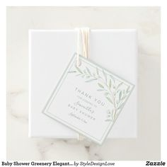 Baby Shower Greenery Elegant Watercolor Foliage Favor Tags  #favortags #greenery #babyshower