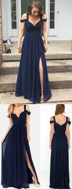 Sexy A-Line Off-Shoulder Split-Front Navy Blue Long Prom Dress