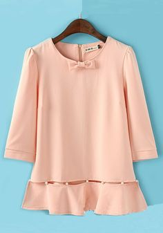 $32 Pink Patchwork Round Neck Seven's Sleeve Chiffon Blouse