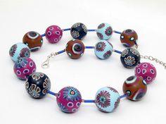 Ketten kurz - Violett Kette Polymer Clay Design Lampwork Fimo - ein Designerstück von filigran-Design bei DaWanda