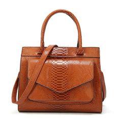Serpentine Pattern Handbag Big Bag Luxury Women Shoulder Bags Large Leather Tote Bag For Office Lady Simple Handbags Large Leather Tote Bag, Handbag Patterns, Big Bags, Casual Bags, Shoulder Handbags, Shoulder Bags, Shoulder Strap, Leather Handbags, Leather Bags
