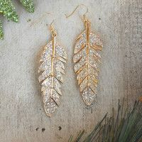 Sparkling Tiered Feather Earrings [3582] - $22.00 : Vintage Inspired Clothing & Affordable Fall Frocks, deloom   Modern. Vintage. Crafted.