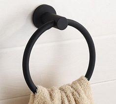 LYLE Bathroom Towel Ring, Stainless Steel Construction, Black #LYLE02
