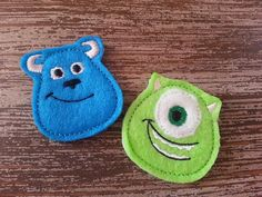 Clippies - Felt Clippie Set - Monsters Inc - Disney Bow - Alligator Clips - Sister Set - BFF Set - Bow Set on Etsy, £3.72