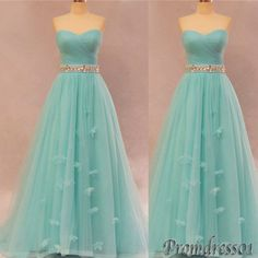 #promdress01 #promdress, Elegant sweetheart strapless green tulle long prom dress for teens,bridesmaid dress, occasion dress -> www.promdress01.c... #coniefox #2016prom
