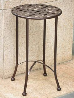 Round Iron Metal Patio End Table The International Caravan Mandalay 15 In Is A Smart And Stylish Way To Accent