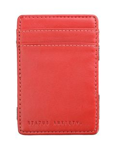 Flip Red Leather Credit Card Magic Trick Wallet by Status Anxiety