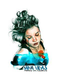 (1) Profile Pictures Paula Bonet Illustration Watercolor Drawing, Watercolor Portraits, Paula Bonet, Collages, Body Figure, People Illustration, Female Portrait, Woman Portrait, Art World