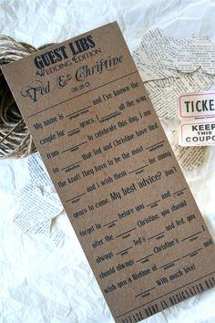 Wedding Mad Libs Cards, Creative Alternative Guest Book