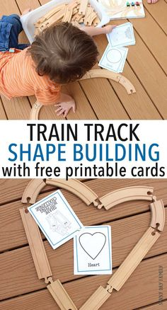 Use your wooden train tracks for this fun shape activity for kids! Download the free printable shape cards and see if you can recreate each one with your train tracks - or invent your own fun shapes! Inspired by the new book Old Tracks, New Tricks, little train lovers will have hours of fun with this easy shape learning game. Perfect for preschool!