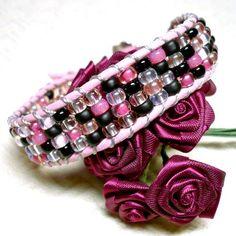 Elegant BOHO Pink and Black Miyuki Seed Bead and Leather Cuff Bracelet | KatsAllThat - Jewelry on ArtFire